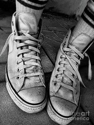 Photograph - Optical White Converse All Star Hi Top 1 Bw by Don Pedro De Gracia