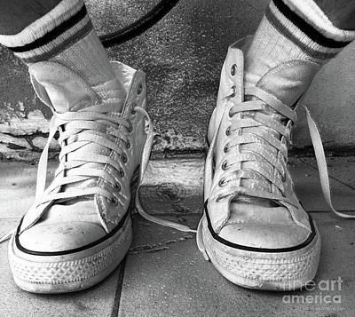 Photograph - Optical White Converse All Star Hi Top 3 Bw by Don Pedro De Gracia