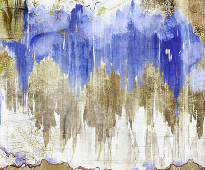 Blue And Gold Painting - Opulence Midnight by Mindy Sommers