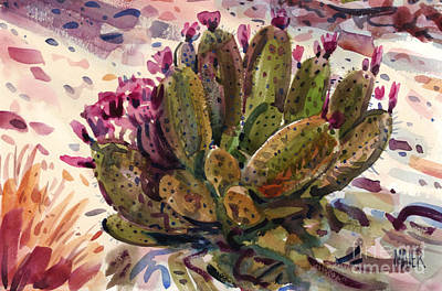 Prickly Pear Painting - Opuntia Cactus by Donald Maier