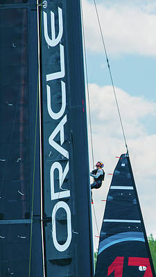 Photograph - Trimmer Joey Newton Of Oracle Team Usa Hanging The Jib by Jeff at JSJ Photography