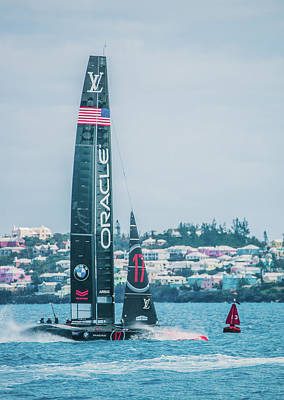 Photograph - Oracle Team Usa Sails By Buoy 13 In Bermuda by Jeff at JSJ Photography