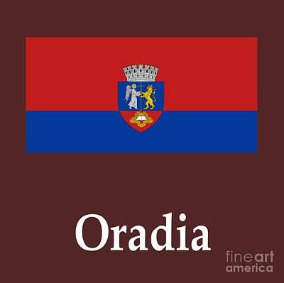 Romania Mixed Media - Oradia, Romania Flag And Name by Frederick Holiday