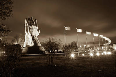 Photograph - Oral Roberts University Praying Hands In Sepia by Gregory Ballos