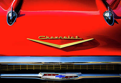Vintage Hood Ornament Digital Art - Orange '57 Chevy by Douglas Pittman