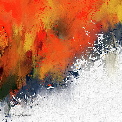 Blue Abstract Painting - Splashes At Sunset - Orange Abstract Art by Lourry Legarde