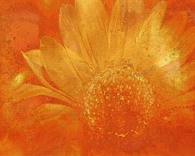 Art Print featuring the digital art Orange Abstract Flower by Fine Art By Andrew David