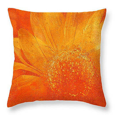 Digital Art - Orange Abstract Flower Throw Pillow by Fine Art By Andrew David