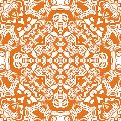 Digital Art - Orange Abstract Modern Decor Design by Georgiana Romanovna