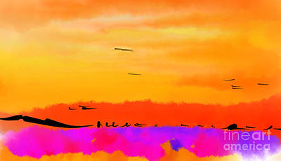 Digital Art - Orange Abstract Sunset by Kirt Tisdale