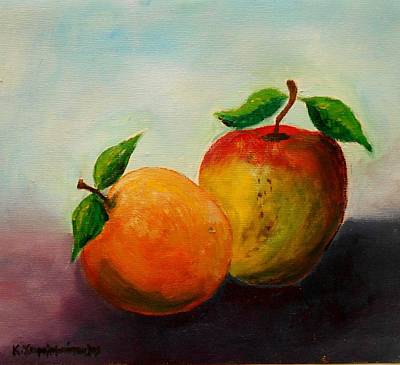 Painting - Apple And Orange by Konstantinos Charalampopoulos
