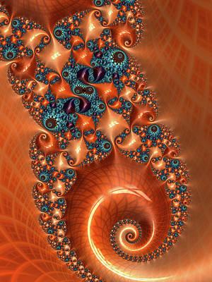 Photograph - Orange And Aqua Fractal Spiral by Matthias Hauser
