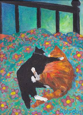 Orange Tabby Painting - Orange And Black Cats - Siesta On Teal by Peggy Johnson