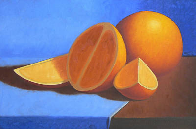 Surrealism Painting - Orange And Blue by Bart  Dluhy
