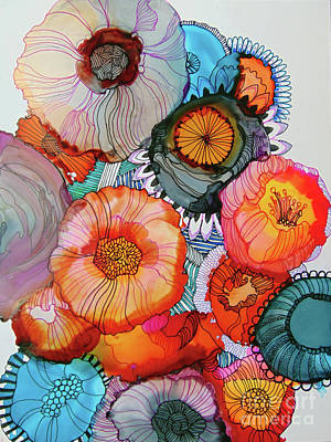 Alcohol Ink Wall Art - Painting - Orange And Blue Bouquet by Wendy Westlake