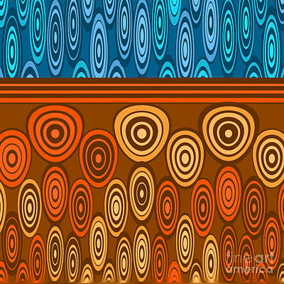 Orange And Blue Design Art Print