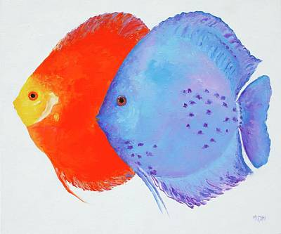 Painting - Orange And Blue Discus Fish by Jan Matson