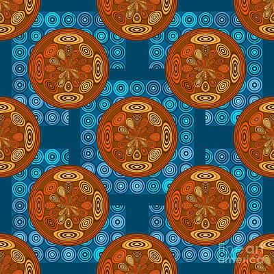 Algorithmic Digital Art - Orange And Blue Pattern by Gaspar Avila