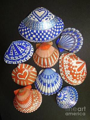 Photograph - Orange And Blue Sharpie Shells by Jean Wright