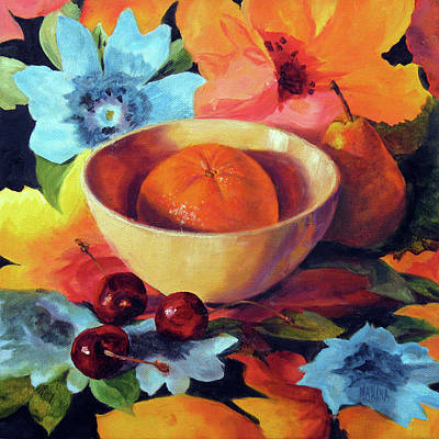 Painting - Orange And Cherries by Marina Petro