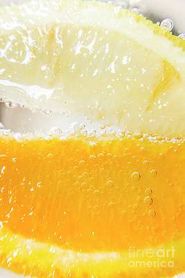 Food And Beverage Royalty-Free and Rights-Managed Images - Orange and lemon in cocktail glass by Jorgo Photography - Wall Art Gallery