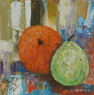 Painting - Orange And Pear Combo by Judith Espinoza