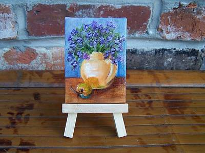 Painting - Orange And Purple Miniature With Easel by Susan Dehlinger