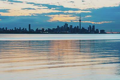 Photograph - Orange And Teal Toronto Skyline Over Water by Georgia Mizuleva