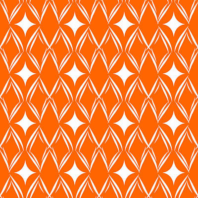 Royalty-Free and Rights-Managed Images - Orange and White Diamonds by Linda Woods