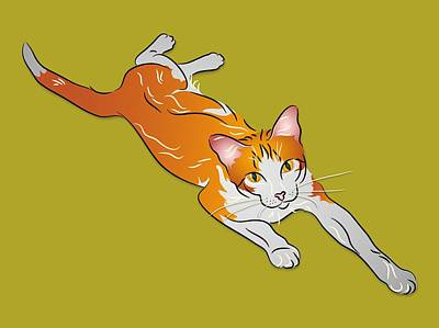 Orange And White Tabby Cat Art Print by MM Anderson