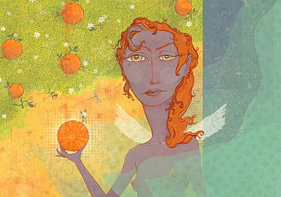 Digital Art - Orange Angel 1 by Dennis Wunsch