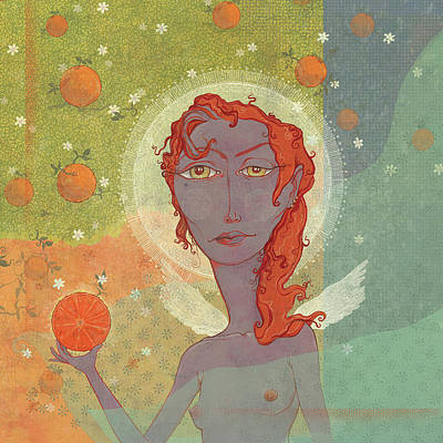 Digital Art - Orange Angel 4 by Dennis Wunsch