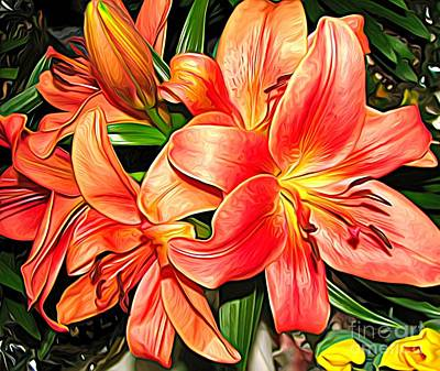 Photograph - Orange Apricot Asiatic Lilies Expressionist Effect by Rose Santuci-Sofranko
