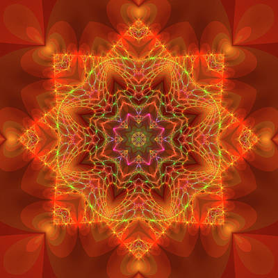 Digital Art - Orange Autumn Mandala by Judi Suni Hall