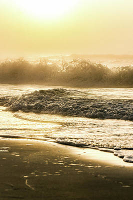 Print featuring the photograph Orange Beach Sunrise With Wave by John McGraw