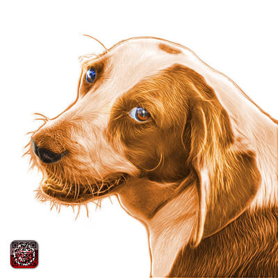 Painting - Orange Beagle Dog Art- 6896 -wb by James Ahn
