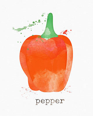 Farm Painting - Orange Bell Pepper  by Linda Woods