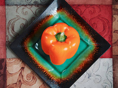 Farm Stand Photograph - Orange Bell Pepper by Tom Druin
