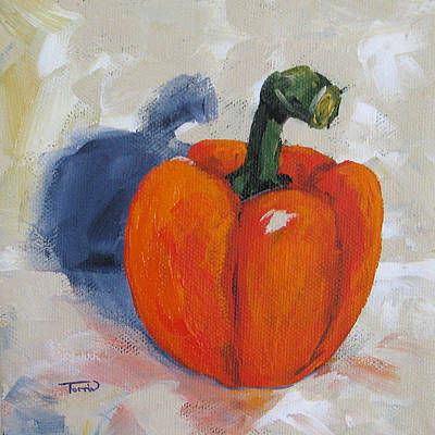 Bell Pepper Painting - Orange Bell Pepper by Torrie Smiley