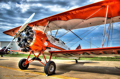 Orange Bi-plane Art Print by Dan Crosby