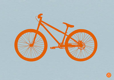 Midcentury Modern Digital Art - Orange Bicycle  by Naxart Studio