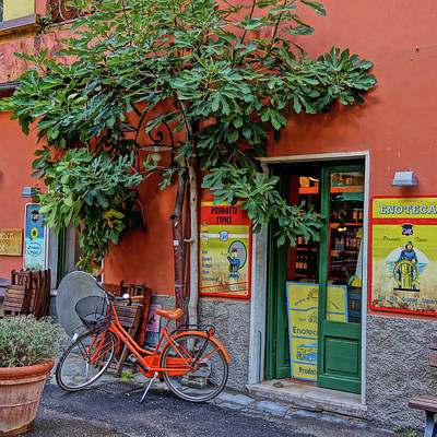 Photograph - Orange Bicycle Wine Shop Monterosso Italy Dsc02584 Square by Greg Kluempers