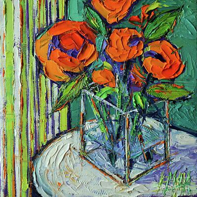 Orange Bloom - Textured Impressionist Palette Knife Oil Painting Mona Edulesco Original