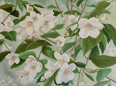 Fruit Tree Art Painting - Orange Blossoms by Angeles M Pomata