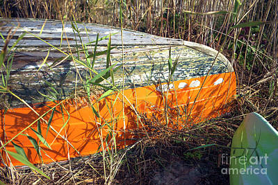 Art Print featuring the photograph Orange Boat In The Dune by John Rizzuto