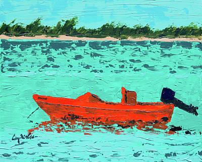 Orange Boat, Turquoise Waters Original by Corey C McNabb