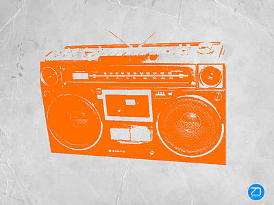 Midcentury Modern Painting - Orange Boombox by Naxart Studio
