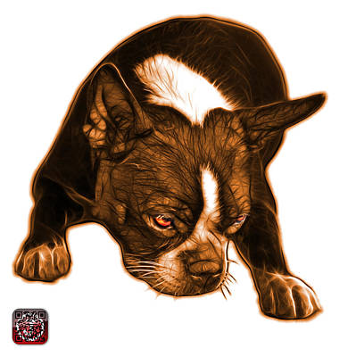 Mixed Media - Orange Boston Terrier Art - 8384 - Wb by James Ahn