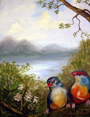 Painting - Orange Breasted Waxbills by Anne Kushnick