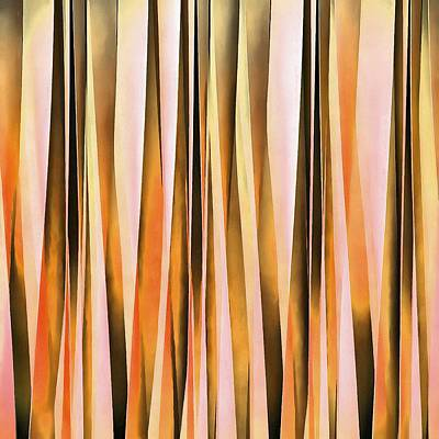 Digital Art - Orange Brown And Peach Autumn Stripy Lines Pattern by Tracey Harrington-Simpson